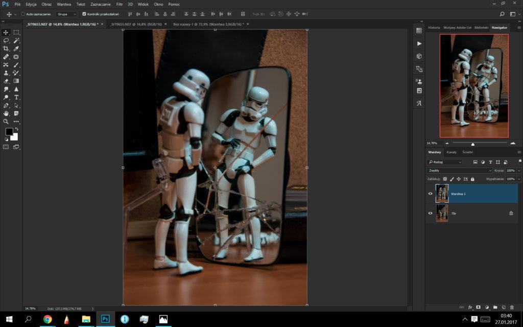 przeklejanie dwóch zdjęć doinnego pliku - Photoshop
