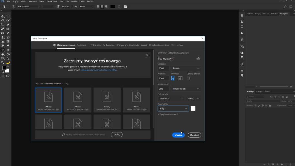 tworzenie nowego dokumentu - Photoshop