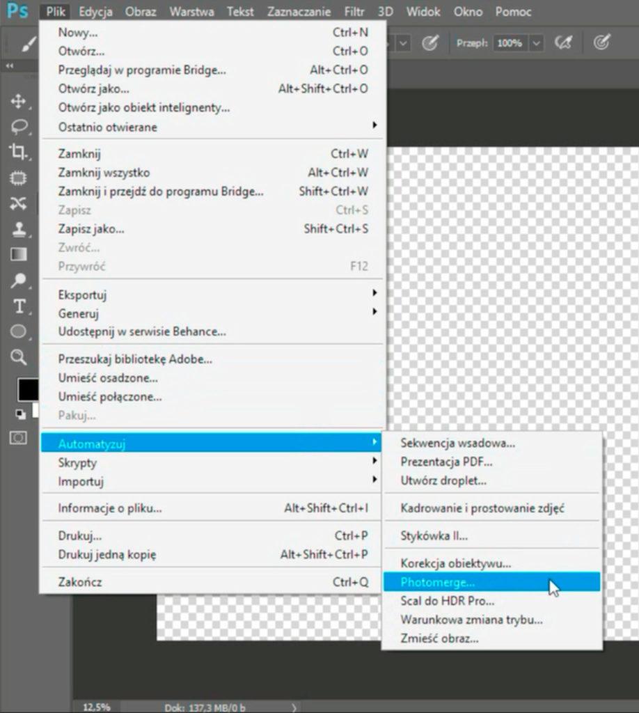 photomerge -funkcja łączenia zdjęć wphotoshopie