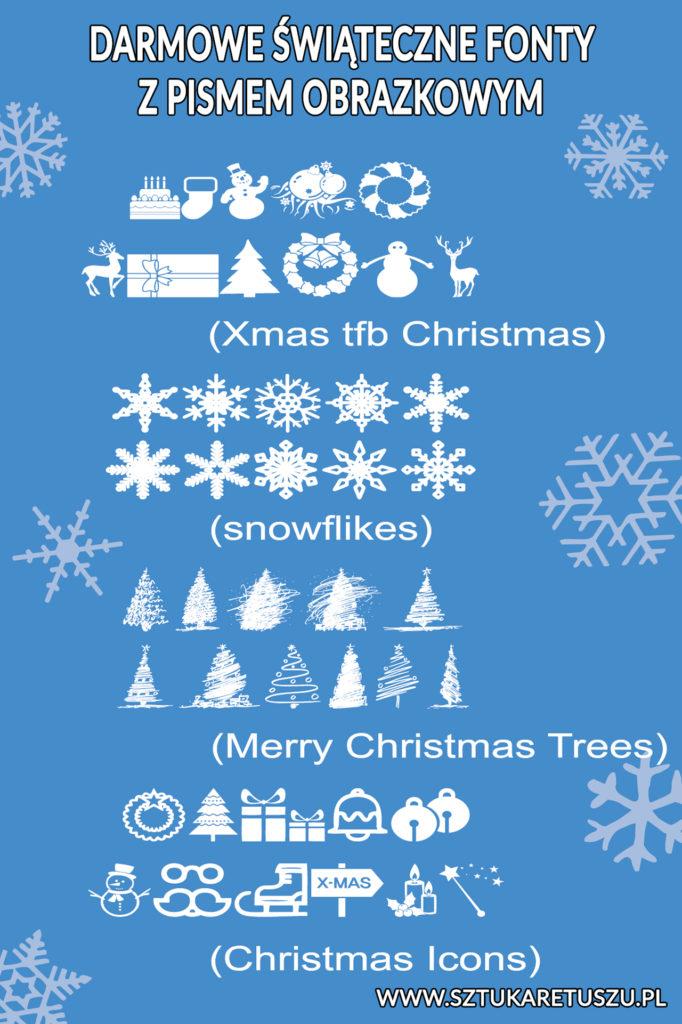 świąteczne fonty obrazkowe - doodle - świateczne ikony