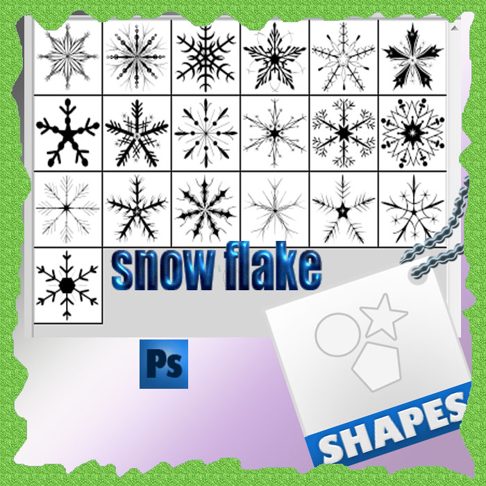 darmowy zestaw świątecznych kształtów własnych - płatki śniegu